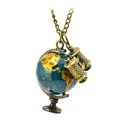 Refaxi Sweater Chain Retro Miniature Telescope Global Travel Globe Necklace