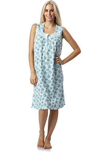 - Casual Nights Women's Fancy Lace Trim Sleeveless Nightgown - Floral/Blue - Large