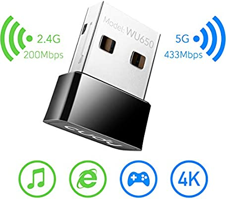 Cudy Dual Band USB WiFi Adapter AC600 Wireless USB Adapter 5GHz // 2.4GHz USB Adapters Soft AP Mode Compatible with Windows XP//7//8//8.1//10 Mac OS etc.