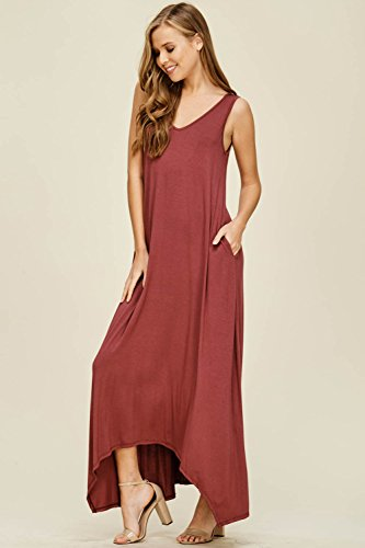 Long Casual with Women's Sleeveless Brick Neck Pockets Dresses Tank V Maxi Top Annabelle n60wq5vAaw