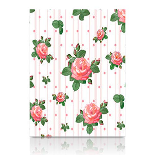 Canvas Wall Art Print Painting Beautiful Rosesbuds Leaves On Rose Nature Classic Stripe Wooden Frame Stretched Artwork Printing 12 x 12 for Home Bedroom Living Room Office ()