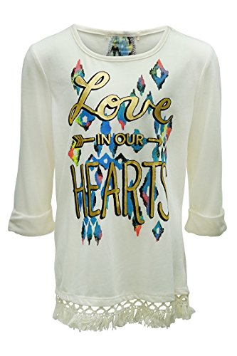 Big Girls Fringe Graphic Print Sheer Back Tee Ivory M