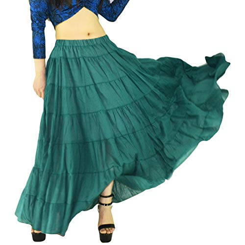 YSJERA Women's Cotton 5 Tiered A Line Pleated Maxi Skirt Long Boho Gypsy Dance Skirts (One Size, A Turquoise ()