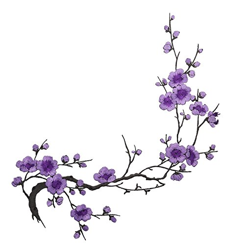 Feamos Impressed Embroidered Plum Blossom Flower Patch Decor on Applique Craft Iron On / Sew On Patch (Purple)