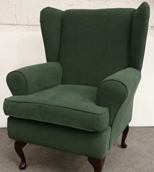Green Chenille Queen Anne Design Wing Back Fireside High Back Chair. Ideal  Bedroom Or Living Part 69