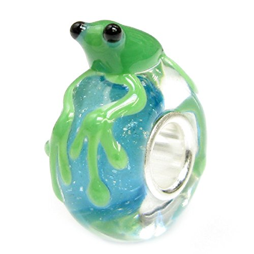 Sterling Silver Leaping Frog (Green Leaping Frog on Blue Water Glass with Sterling Silver Core European Bead Charm by Queenberry)