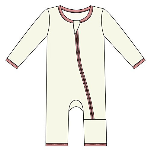 Kickee Pants Little Boys Solid Coverall with Zipper - Natural with Suede, 0-3 Months
