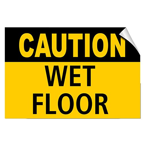 Osha Caution Safety Tag - Caution Wet Floor Style 1 Hazard LABEL DECAL STICKER Sticks to Any Surface