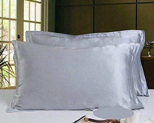 Sona bedding solutions Luxurious Ultra Soft Silky Satin 2-Piece pillow cash Silver grey, Body size