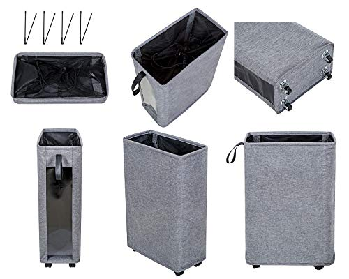 """ZERO JET LAG 27 inches Slim Laundry Hamper Large Tall Laundry Basket on Wheels Clear Window Visible Dirty Clothes Hamper… - 【HEIGHTEN & WIDEN SIZE】 The updated laundry basket allows you to pack more clothes than before,at least 3 to 4 more clothes.so you don't have to go to the laundry room often.Refer size:16""""×8.6""""×27"""" Capacity:62L / 13.6gal 【CLEAR & SIMPLY 】With a transparent window, you do not need to go through of piles before you find what you are looking for. Save time, just peep through the """"window"""" and see if to open. 【PU HANDLE & WHEEL DESIGN】Comfortable PU handle allow you to easily move a dirty laundry basket.The wheels under the hamper make it easy to transport. - laundry-room, hampers-baskets, entryway-laundry-room - 415zjQxwYNL -"""