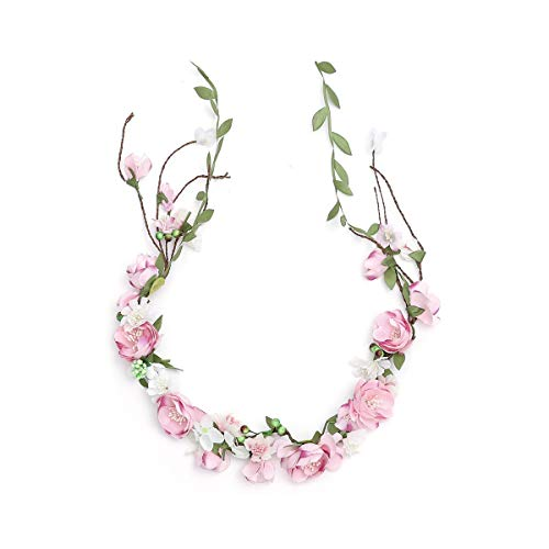 Newly arrived Rattan Flower Vine Crown Tiaras Necklace Belt Party Decoration (Pink-B)