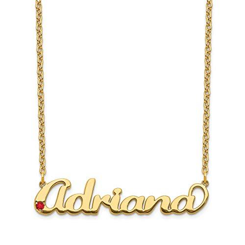 Brilliant Bijou Birthstone Nameplate Necklace Polished Finish (10K Yellow Gold)