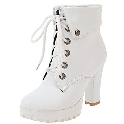 AIYOUMEI Damen Blockabsatz Stiefeletten mit Plateau und Schnürung High Heels Kurzschaft Stiefel eyVc8B