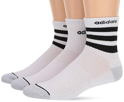 adidas Men's 3-Stripe High Quarter Socks (3-Pack), White/Clear Onix Marl/Black, Size 6-12