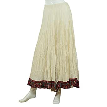 Coco Off White Cotton Broomstick Skirt For Women