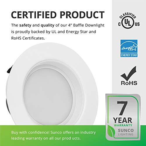 Sunco Lighting 6 Pack 4 Inch LED Recessed Downlight, Baffle Trim, Dimmable, 11W=40W, 3000K Warm White, 660 LM, Damp Rated, Simple Retrofit Installation - UL + Energy Star by Sunco Lighting (Image #7)