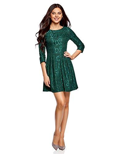 oodji Ultra Mujer Vestido Entallado de Punto Verde (6e00n)