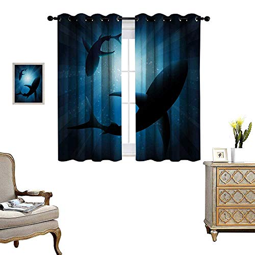 Shark Blackout Window Curtain Silhouette of The Fishes Swimming at Twilight Night Moon Mystic Magical Sea Scenery Customized Curtains W55 x L45 Dark Blue