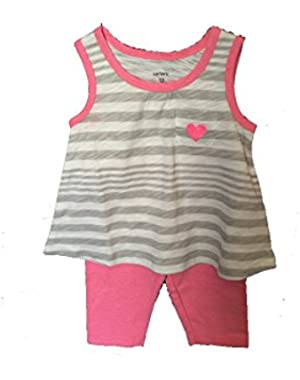 Girls 2 piece Outfit Tank Top with Capri Leggings Size 12 Months