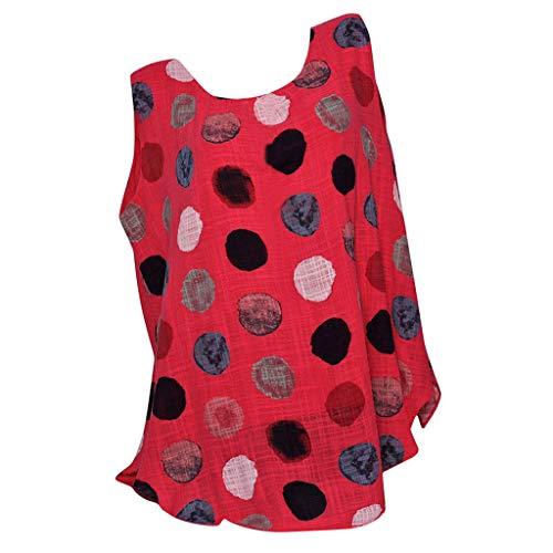 Loosebee Women's Fashion Sleeveless Round Neck Large Dot Loose T-Shirt Top Red