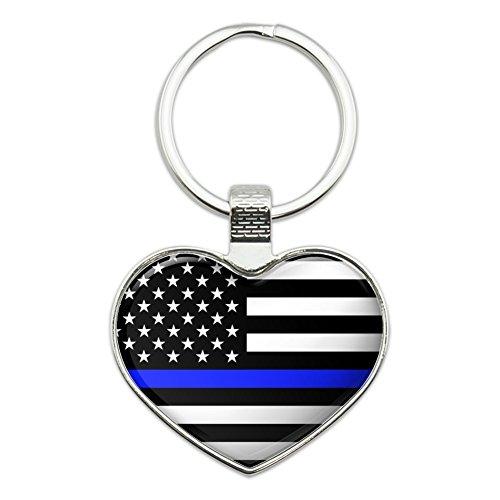 Thin Blue Line American Flag Heart Love Metal Keychain Key Chain Ring