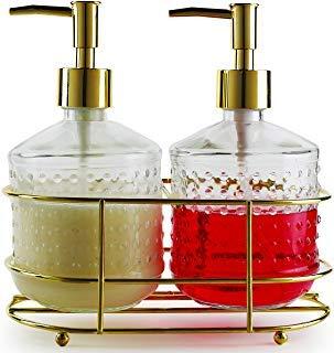 Vintage Gravy (Circleware 32474 Vintage Gold Hobnail Dispenser Bottle Pumps in Metal Caddy 3-Piece Set of Home Bathroom Accessories, Farmhouse Decor for Essential Oils, Lotions, Liquid Soaps 17.5 oz Clear)