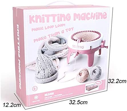 40 Needles Smart Weaving Loom Round Knitting Machines Red, 48 Needles Weaving Loom Kit for Adults or Kids Knitting Board Rotating Double Knit Loom Kit for Sock//Hat//Pumpkin