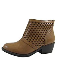 Soda Women's Geometric Laser Cutout Low Chunky Stacked Heel Ankle Bootie