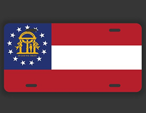 JMM Industries Georgia State Flag License GA Vanity Novelty License Plate Tag Metal Car Truck 6-Inches by 12-Inches UV Resistant Print UVP020 ()