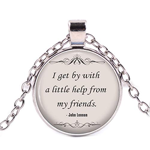 John Lennon Friendship Quote Necklace, The Beatles Music Song Lyrics Pendant, Inspirational Jewellery Gift Idea for Friends ()