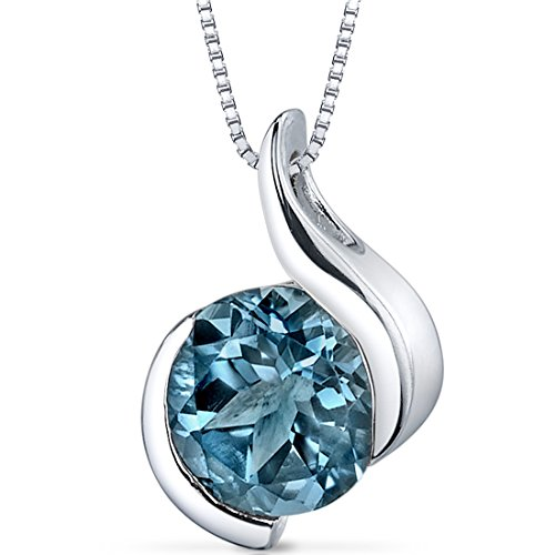London Blue Topaz Bezel Pendant Necklace Sterling Silver Rhodium Nickel Finish 2.25 Carats