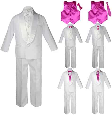 15a9c7601cf1 Baby Kids Child Kid Toddler Boy Teen Formal Wedding Party White Shawl Lapel  Suit Set Fuchsia