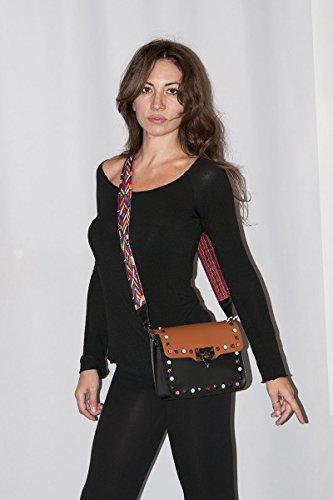 in main bandoulière et Italy sac à en avec tissu femme en Made 100 ARIANNA BORDERLINE Rouge crampons cuir petit coloré q0EFAwWp