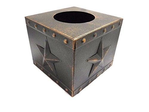 DeLeon Collections Metal Star Square Tissue Box, Copper Finish