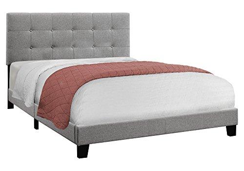 Monarch Specialties I 5920Q Bed Size Linen, Queen, Grey
