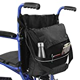 Vive Wheelchair Bag - Wheel Chair Storage Tote Accessory for Carrying Loose Items and Accessories - Travel Messenger Backpack for Men, Women, Handicap, Elderly - Accessible Pouch and Pockets, Black