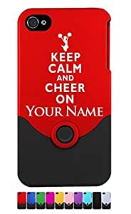 Engraved iPhone 4/4S Case/Cover - KEEP CALM AND CHEER ON - Personalized for FREE (Send us an Amazon email after purchase with your engraving request)