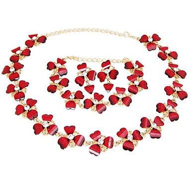 SHUAIGUO Schmuckset Damen Synthetischer Rubin Schmuck-Set 1 Halskette 1 Paar Ohrringe 1 Armreif - Für Party, one Size