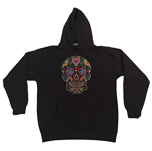 Pullover Hoodie with Colorful Neon Sugar Skull in Rhinestones (3X)