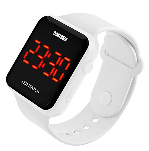 - Gosasa Unisex Men's Women Simple Design White Rubber Band Digital LED Watch