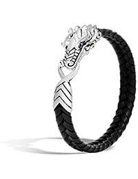 """Men's""""Legends Naga"""" Sterling Silver and 10mm Braided Black Leather Bracelet"""