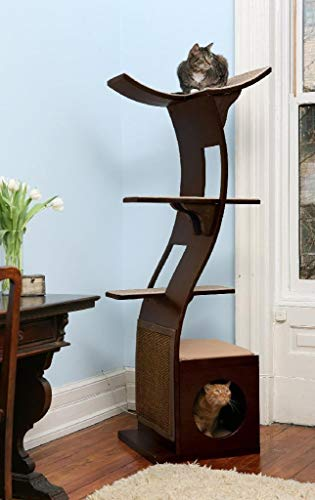 The Refined Feline Lotus Cat Tower in Espresso