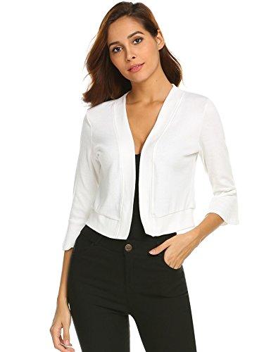 Jacket Wear Cropped (Gfones Women's Classic Bolero 3/4 Sleeve Open Front Cropped Cardigan)