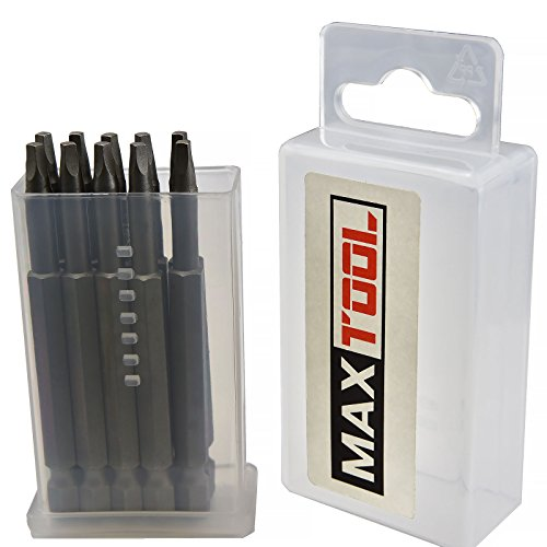 MaxTool 10PCs SQ1x3 Identical Screwdriver Bit Set; Square Head #1; 3 OAL; 1/4 Hex; 6150 Alloy Steel; SQ1x3P10-6150