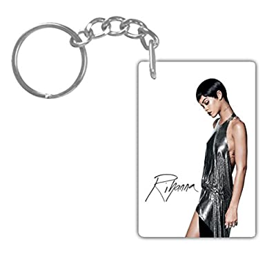 RIHANNA#8 Aluminum Rectangle plate Keychain (1-Sided) Includes key ring.