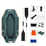 Inflatable Rubber Boat, River Fishing Boat for 1 People, with 2 Aluminium Oars and Foot Pump, Max Load 120 kg