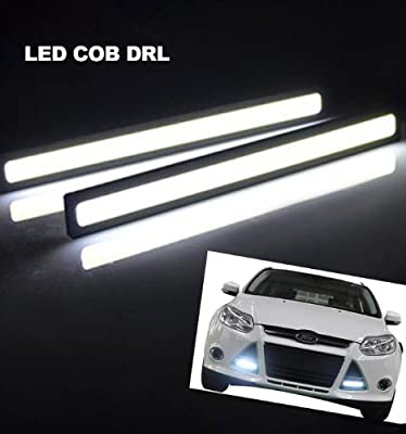 LEMONBEST® 2 pcs Set General 12V Waterproof Aluminum High Power 6000K COOL White Slim COB LED DRL Daylight Driving Daytime Running Light Lamp For Car Vehicle