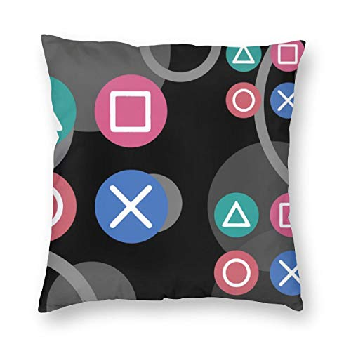 Undertale Annoying Dog Playstation Vintage Icon Rubber Backed Decorative Square Throw Pillow Cases Soft Soild Cushion Covers for Sofa Couch Bed Chair 18 X 18 in