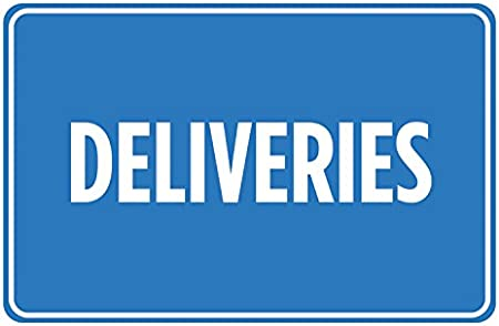 4 Pack Deliveries Blue White Signs Wall Business Office Store Direction Sign