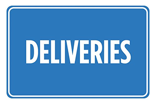 Deliveries Blue White Signs Poster Picture Wall Hanging Business Office Store Direction Sign